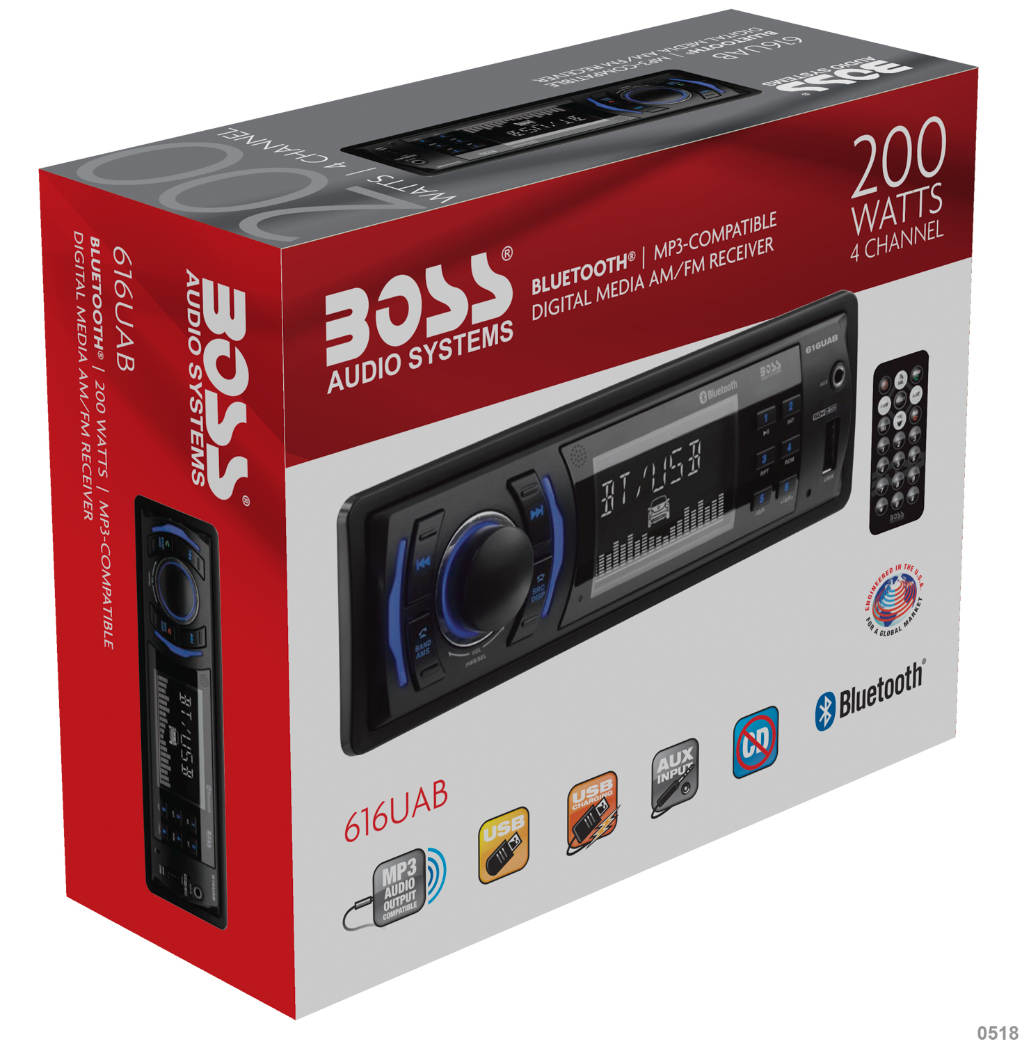 Boss Audio 616uab Single Din  Bluetooth  Mp3  Usb  Sd Am  Fm