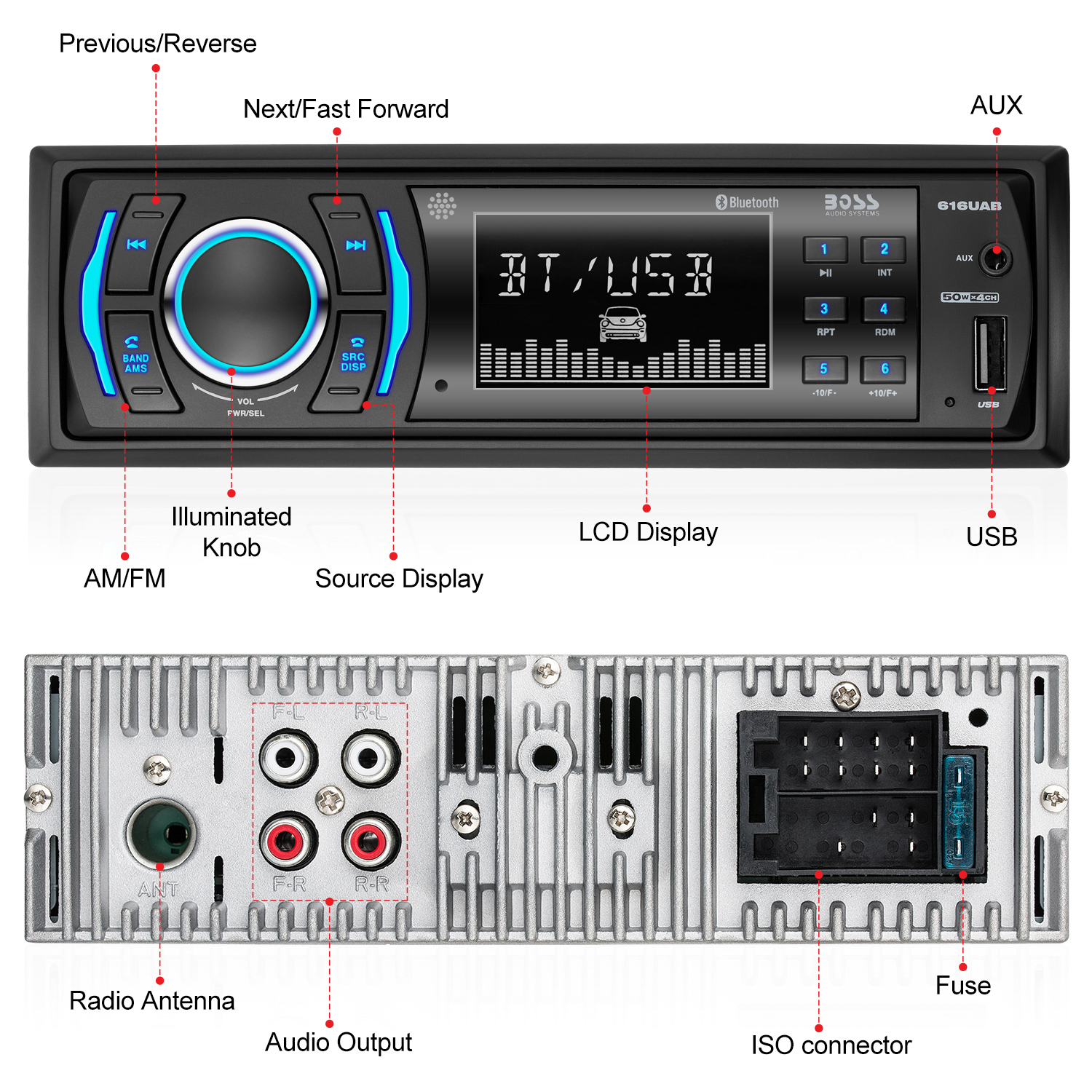 616Uab - Boss Audio Systems - Boss Audio 616Uab Single Din, Bluetooth, Mp3/usb/sd Am/fm Car Stereo Wiring Diagram