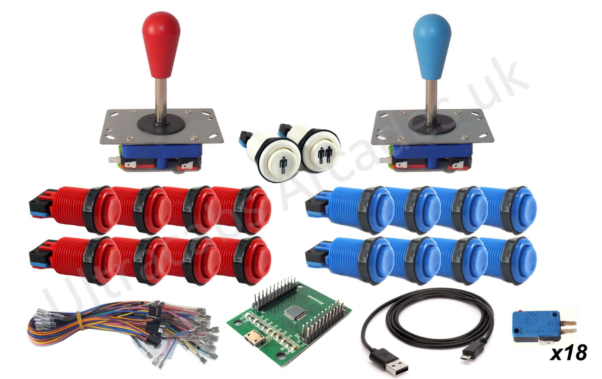 Arcade Joystick 2 Player Control Kit Set - 16 White Concave Buttons - Xin Mo Usb Wiring Diagram