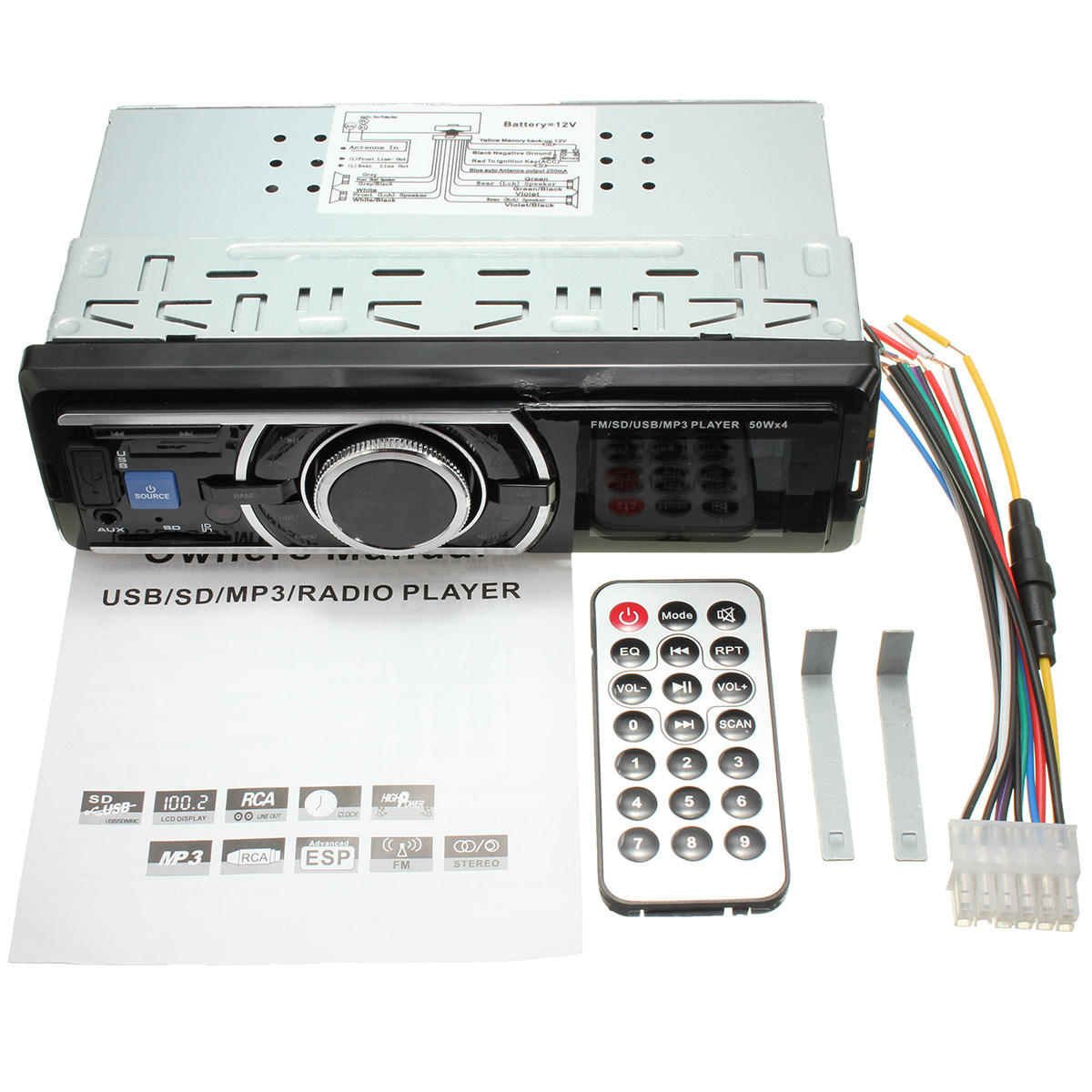 Car Auto 12V Lcd Stereo Radio Fm Sd Usb Mp3 Player Aux Non Cd Reader - Fm/sd/usb Player 50Wx4 Wiring Diagram