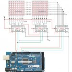 Circuit To Control 16*8 Led Matrix Using Arduino Mega And 74595   Mega Joystick Controller To Arduino Usb Wiring Diagram