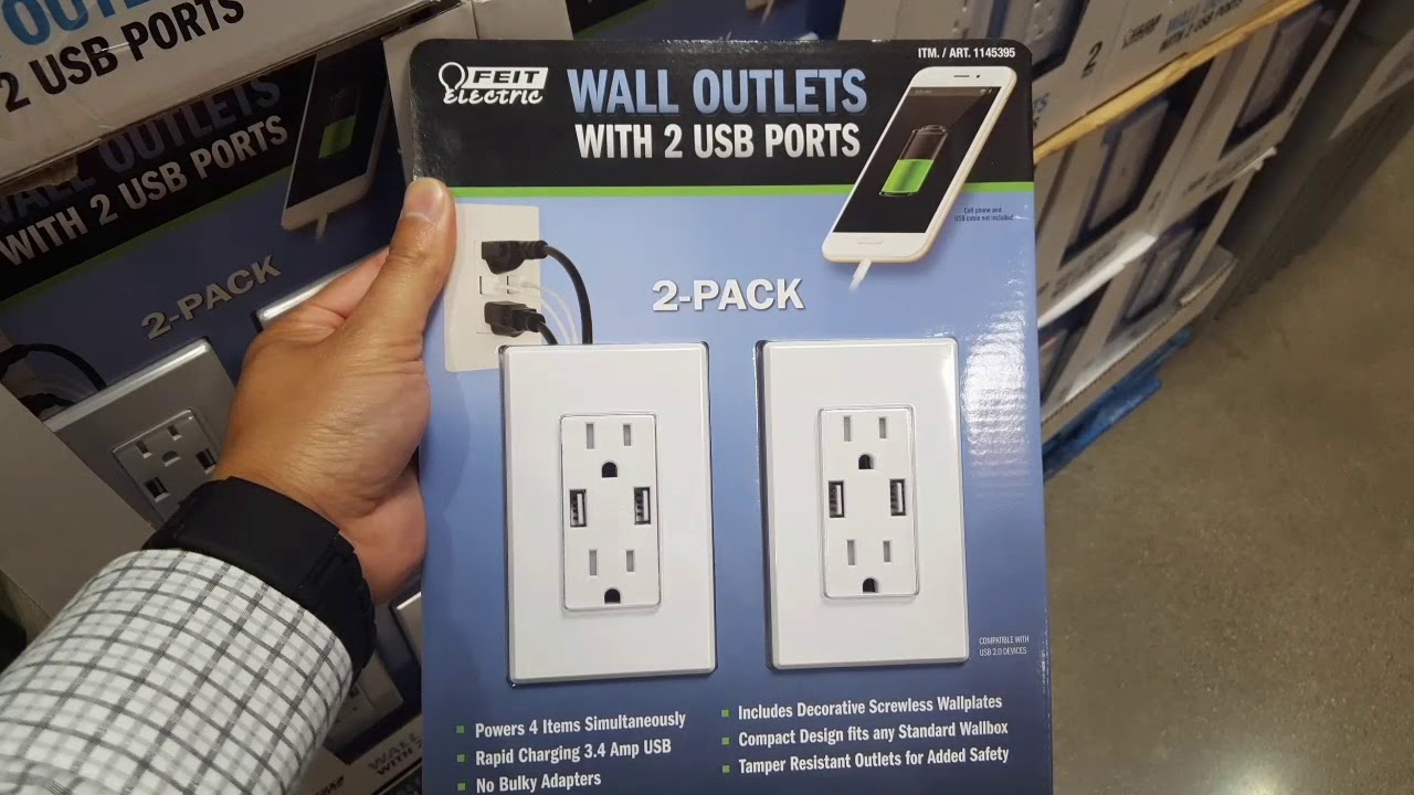 Costco Feit 3.4 Amp Usb Ac Wall For Outlet For 2 For $20 - Youtube - Usb Receptacle Intertek Wiring Diagram