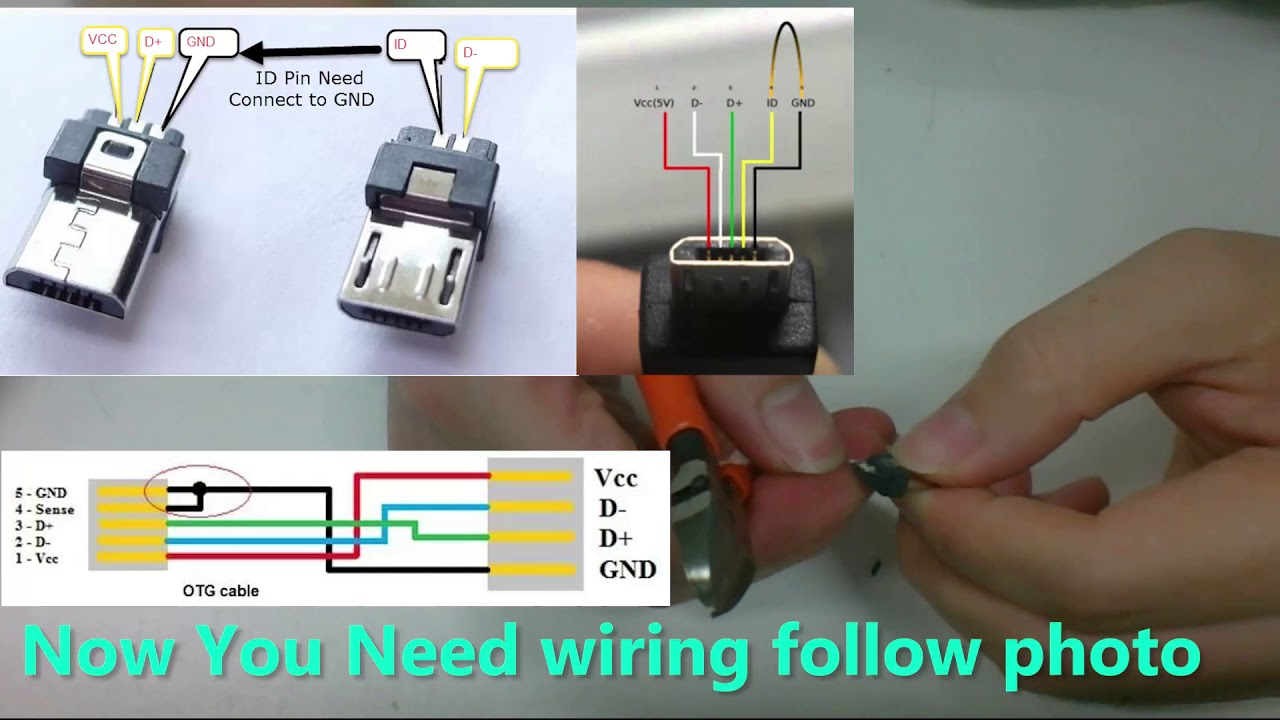 Diy Usb Otg Micro Usb To Mini Usb For Audio Dac - Youtube - Mini Usb To Micro Usb Otg Wiring Diagram Phone