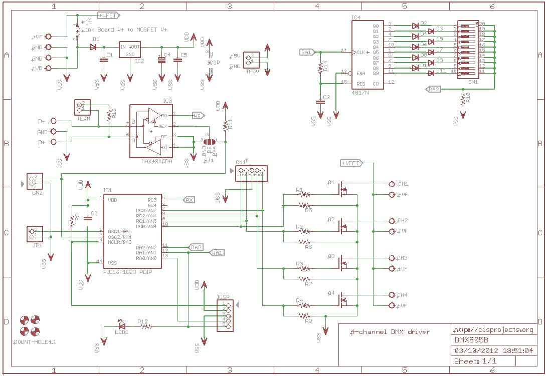 Dmx512 4 Channel Driver Board - Usb To Dmx Wiring Diagram