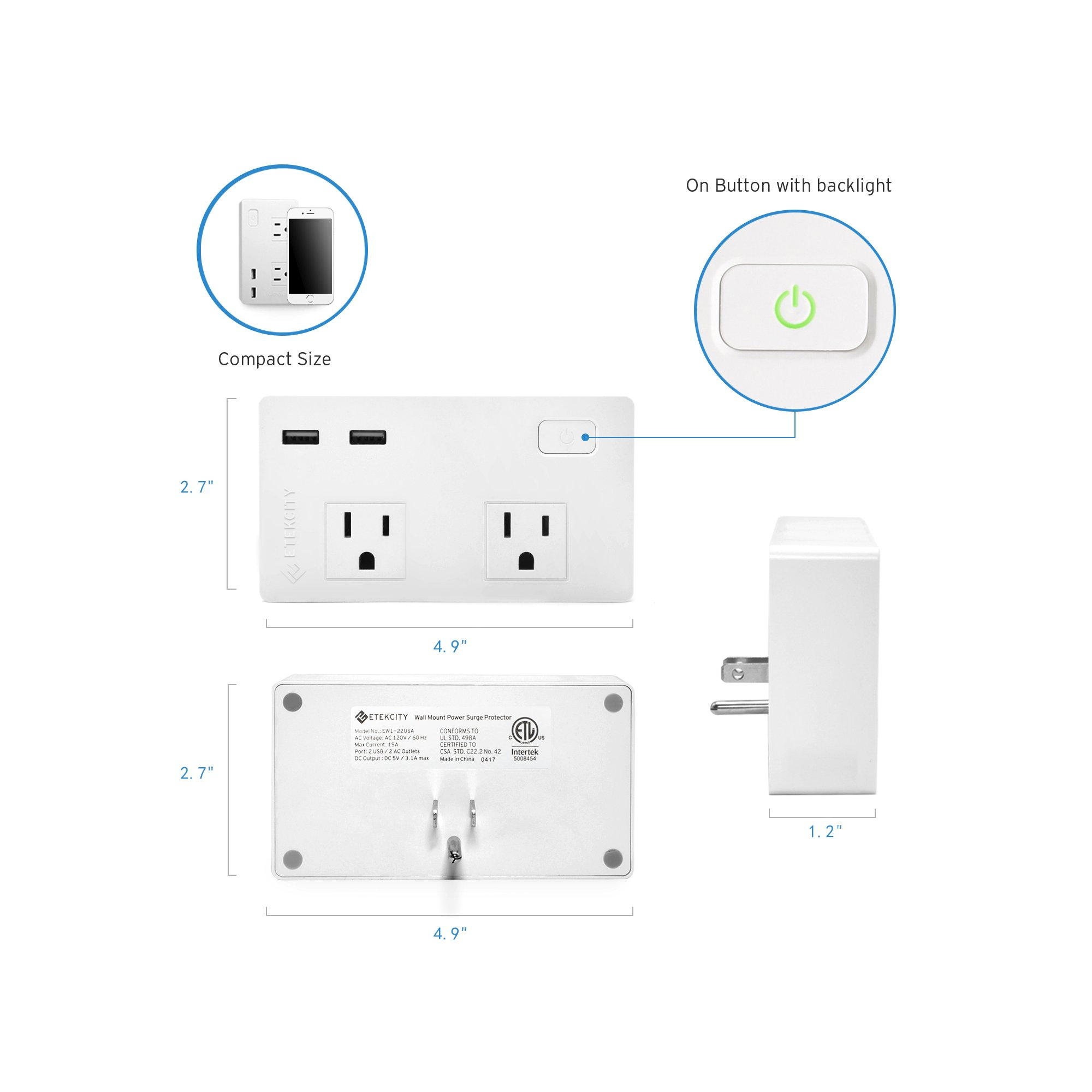 Etekcity 2-Outlet Surge Protector With 2 Usb Charging Ports Power - Usb Receptacle Intertek Wiring Diagram