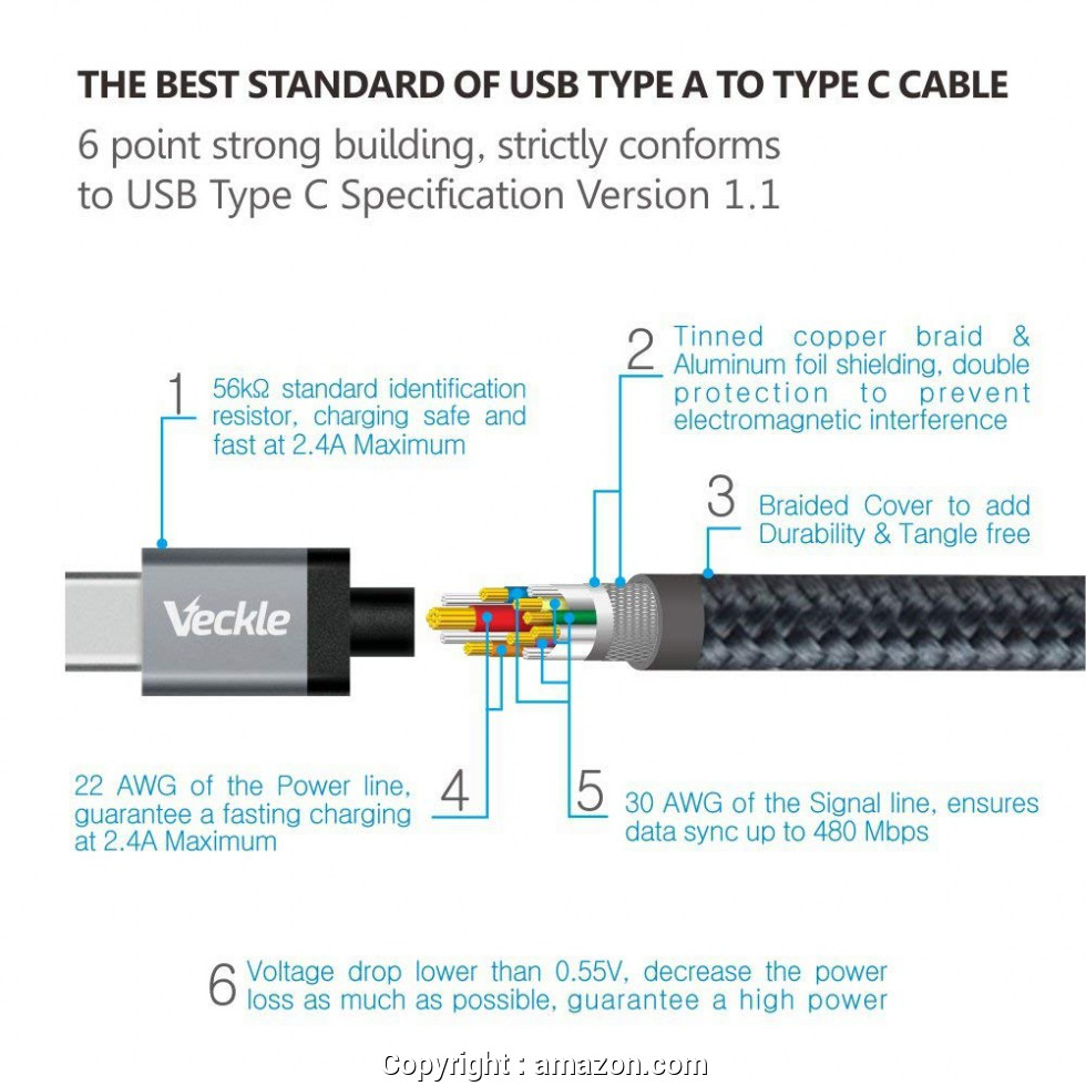 Good Usb C Cable Wiring Diagram Usb C, Veckle Type C To Usb 3.0 (Usb - Usb C Cable Wiring Diagram