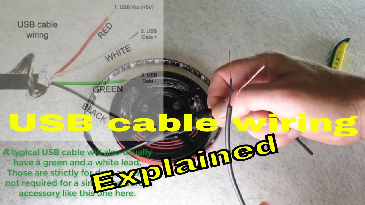 How To Hard Wire A Usb Cable, Splice It And Extend It - Youtube - Usb Wiring Diagram Clear White Wires
