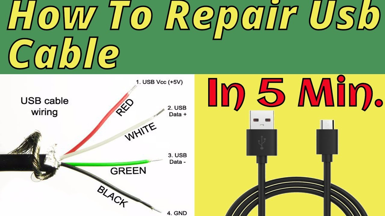 How To Repair Usb Cable(100% Fix) - Youtube - Lightning Cable Red White Green Yellow Black Usb Wiring Diagram