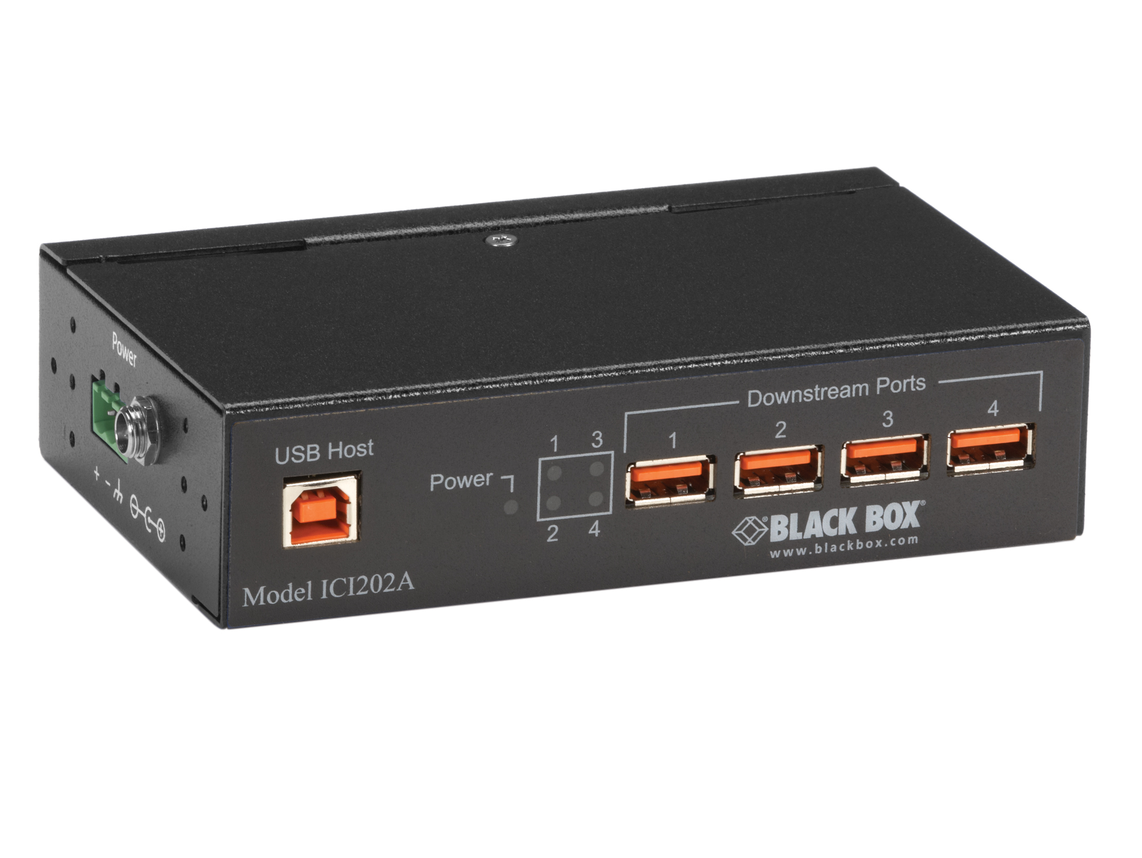 Industrial Usb 2.0 Hub With Isolation, 4-Port | Black Box - Optically Isolated Usb Hub Wiring Diagram