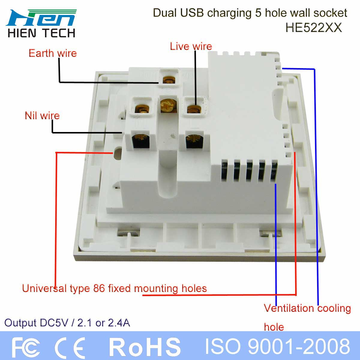 International Standard Grounding Wall Plug Socket 5V 2.4A Dual Usb - Wiring Diagram In A Usb Wall Plug