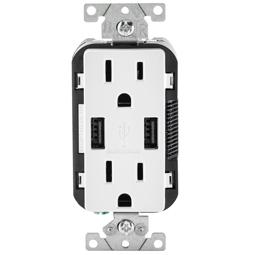 Leviton 15 Amp Decora Combination Tamper Resistant Duplex Outlet And - Leviton Usb Outlet Wiring Diagram