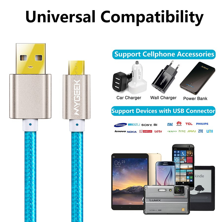Mygeek Nylon Micro Usb Cable For Samsung Htc Huawei Xiaomi Android - Htc Micro Usb Wiring Diagram