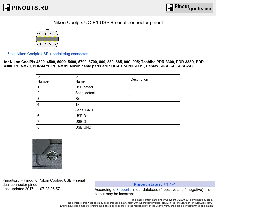 Nikon Coolpix Uc-E1 Usb + Serial Connector Pinout Diagram - Usb To Serial Port Wiring Diagram