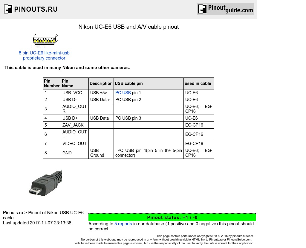 Nikon Uc-E6 Usb And A/v Cable Pinout Diagram @ Pinoutguide - Usb Wiring Diagram Positive