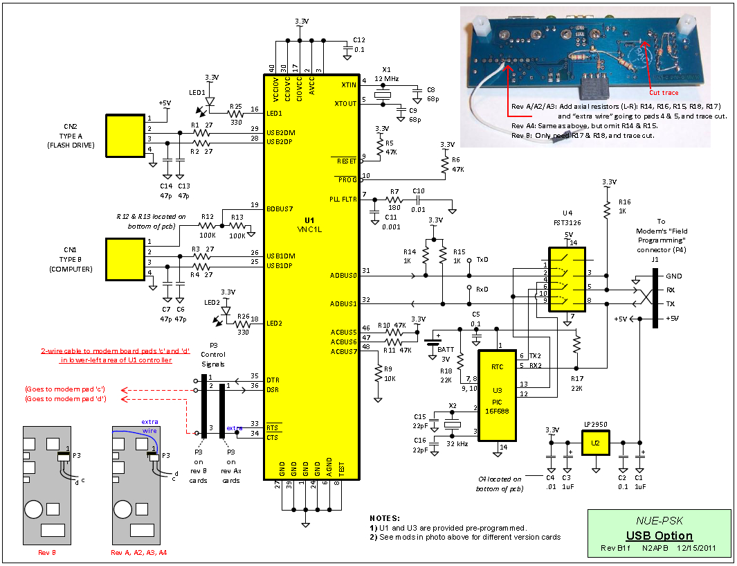 Nue-Psk Usb Port Add-On Card - Usb Data Receive And Transmit Wiring Diagram