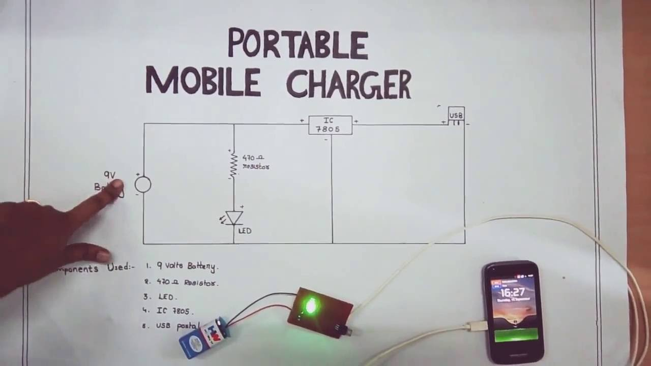 Portable Mobile Charger-Circuit Diagram - Youtube - Usb Battery Charger Wiring Diagram