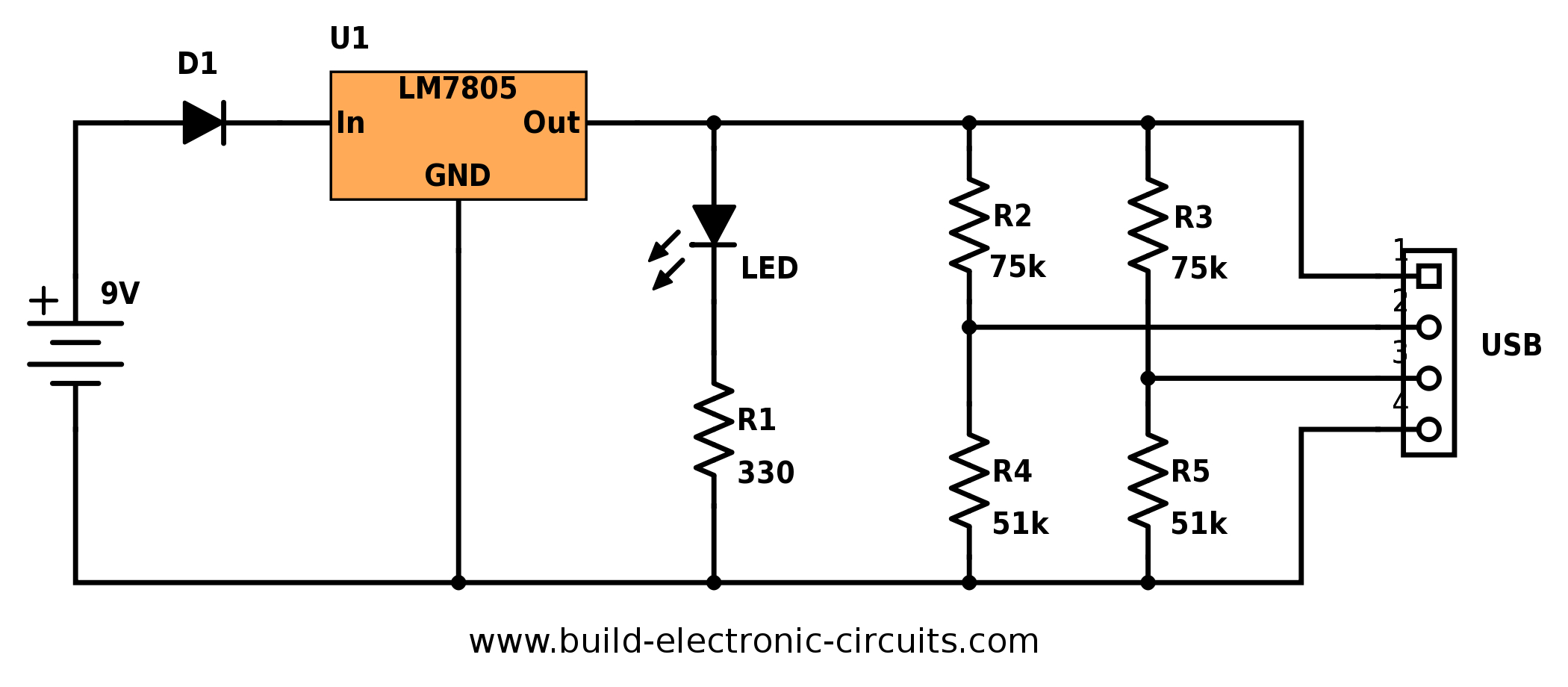 Portable Usb Charger Circuit - Build Electronic Circuits - Explain Usb Wiring Diagram