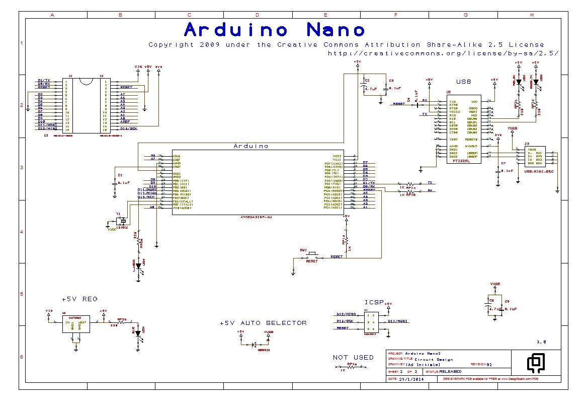 Reference Design Of Arduino Nano 3.0 - Arduino Nano Wiring Diagram To Usb