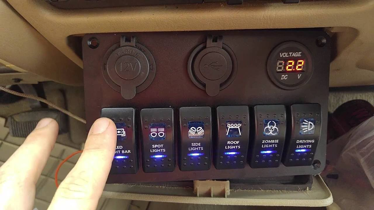 Review~ Teqstone 6-Switch Led Light Bar Panel With Volt Meter Usb - Teqstone Dual Usb Voltmeter Switch Wiring Diagram