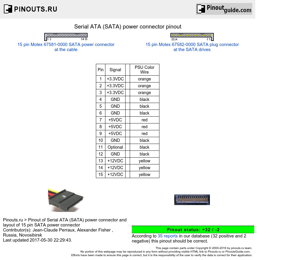 Sata Power Connector Pinout Diagram   Pinoutguide