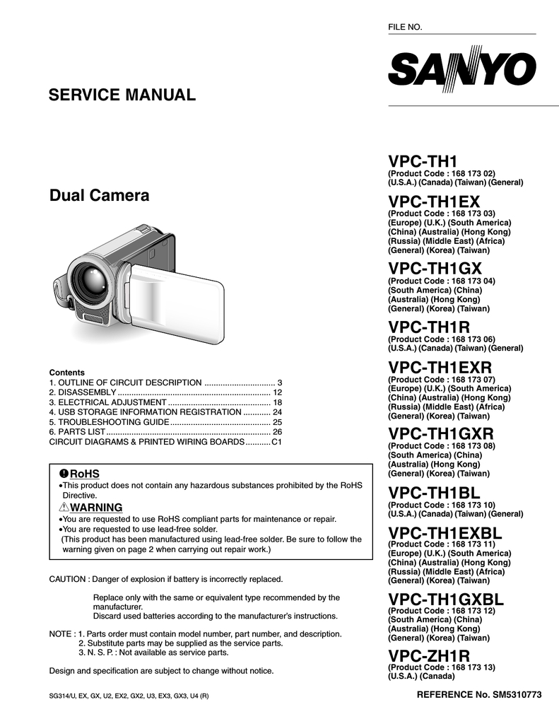 Service Manual Dual Camera Vpc-Th1 Vpc | Manualzz - Usb Wiring Diagram Micro Camera Brown Green Red Sv D+ D-