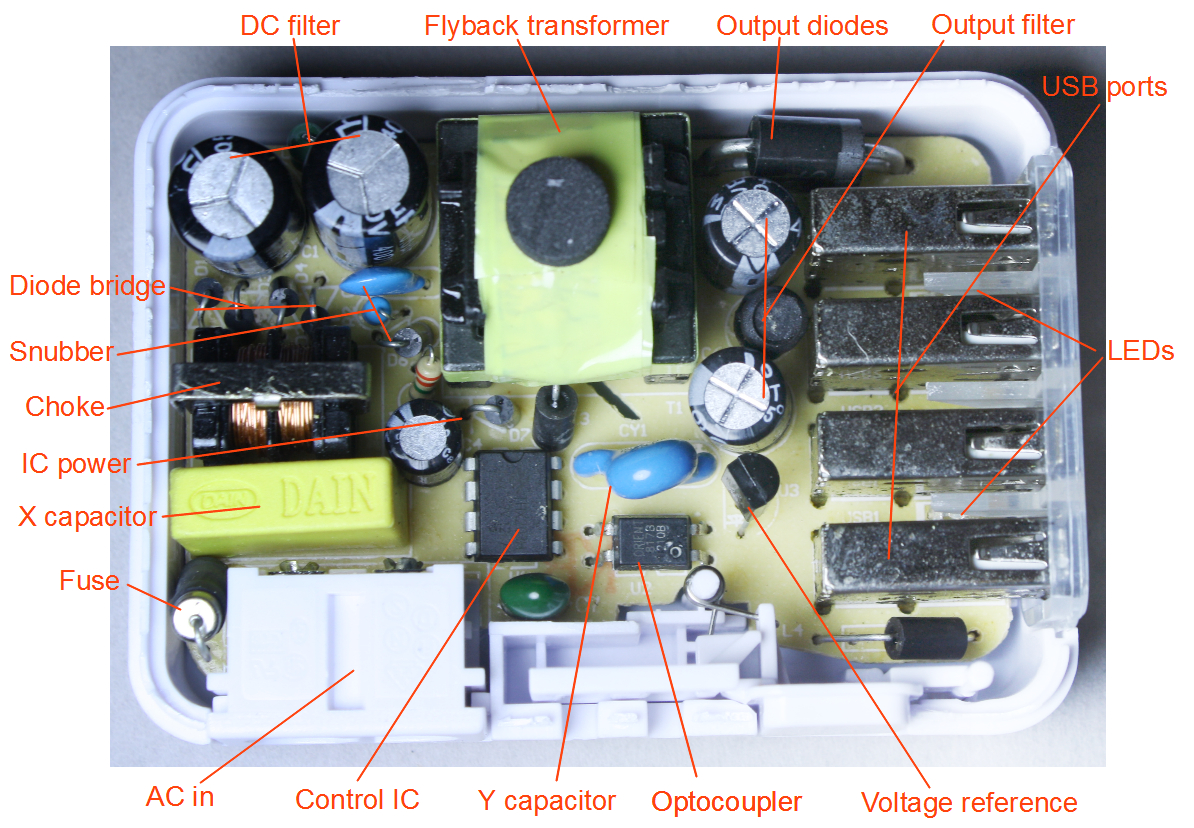 Teardown Of The Mysterious Kms 4-Port Usb Charger - 6 Prong Usb Charger Wiring Diagram