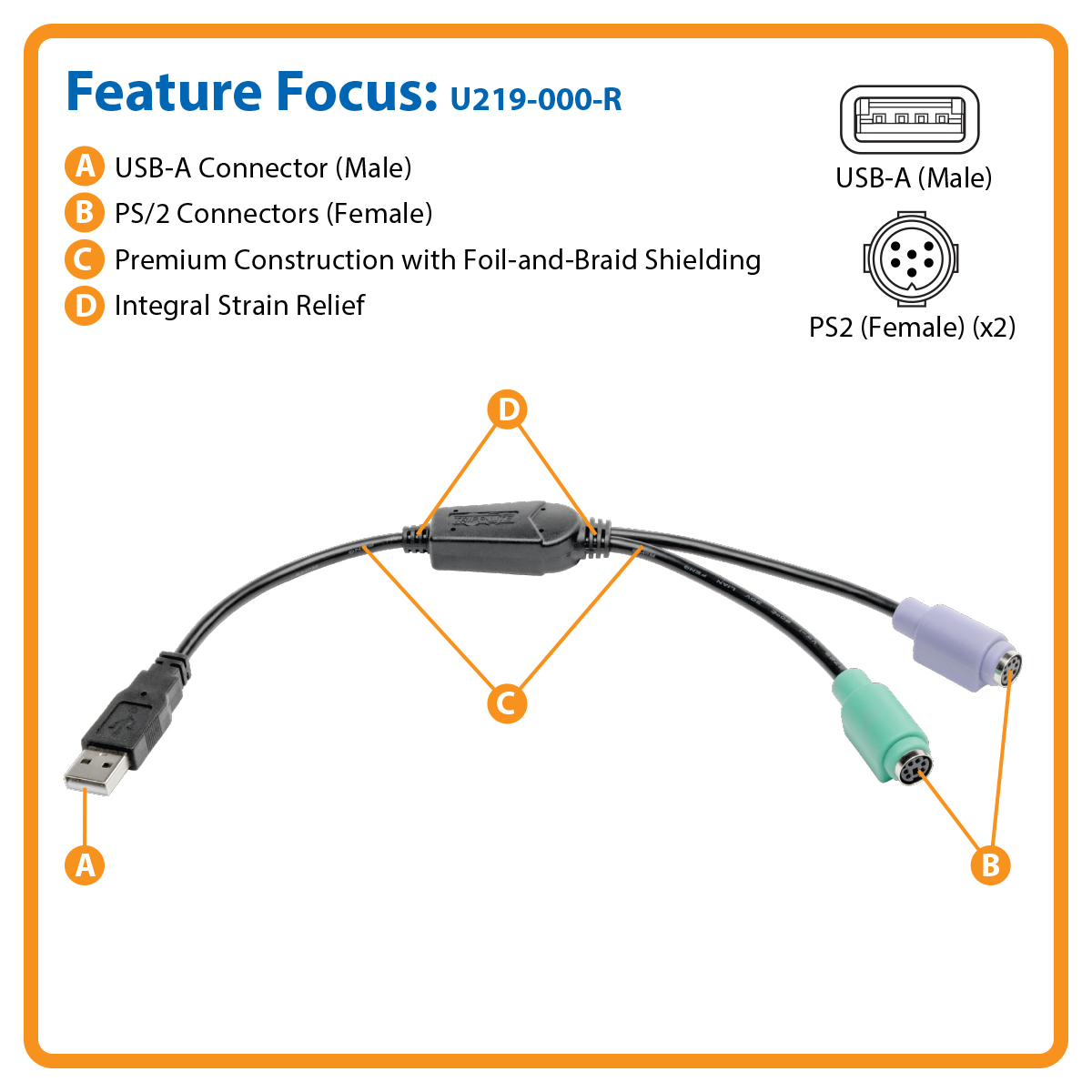 Tripp Lite 6 Inch Usb To Ps2 Adapter Keyboard And Mouse Usb A O 2X - Ra-Track-B-2-Usb-Ps2 Wiring Diagram