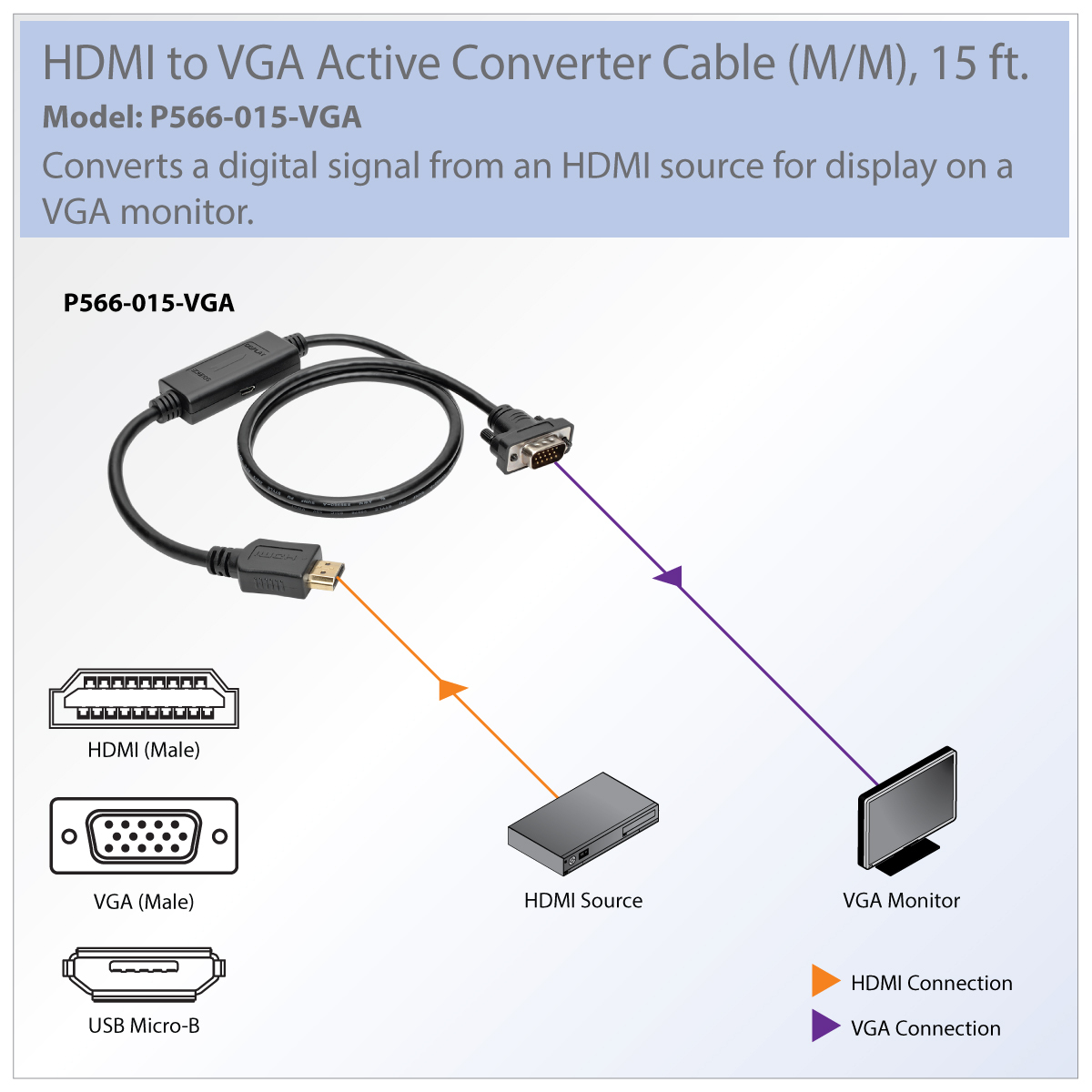 Tripp Lite Hdmi To Vga Adapter Converter Cable Active M/m 1080P - Vga To Usb Cable Wiring Diagram