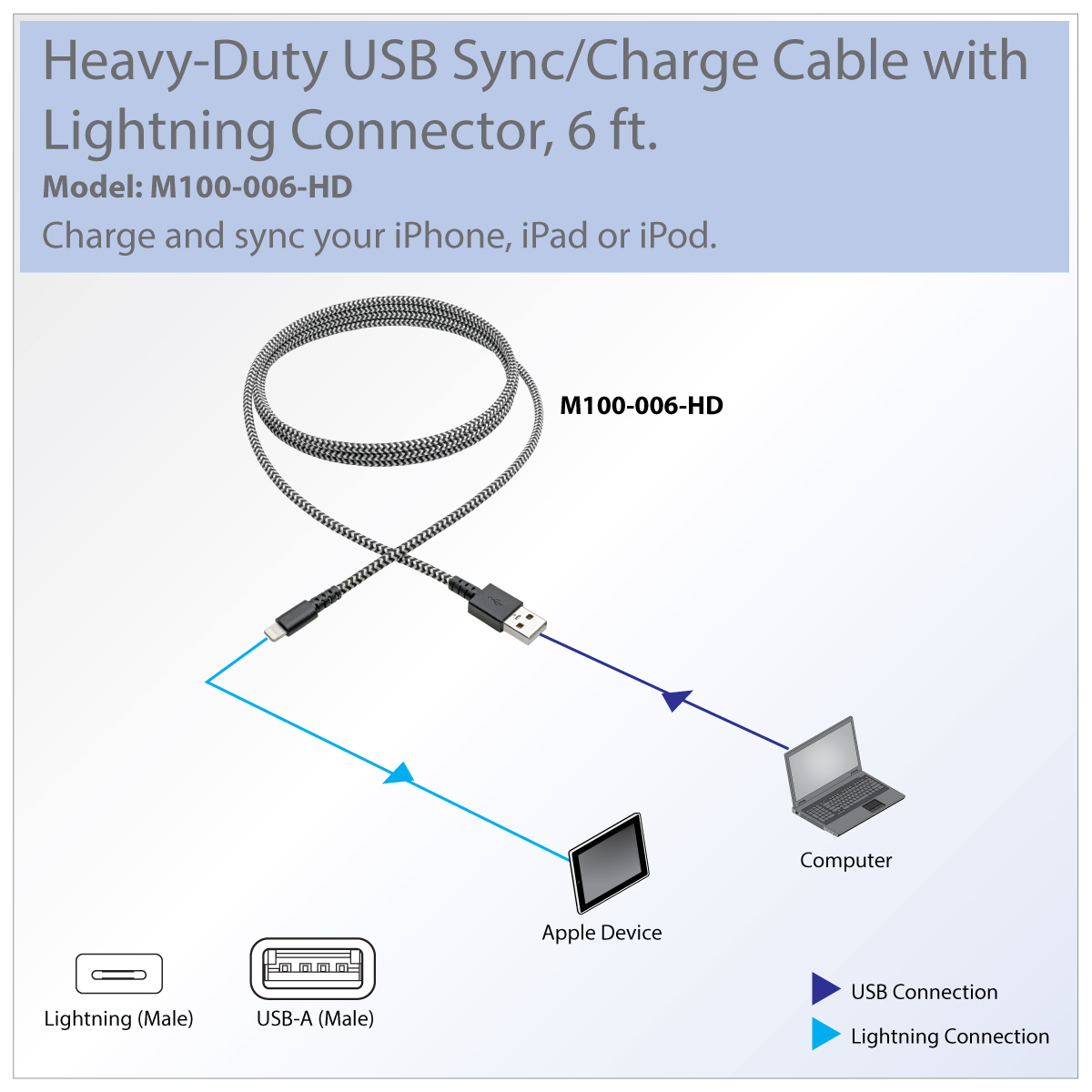 Tripp Lite Heavy Duty Lightning To Usb Sync / Charge Cable Apple - Iphone Charging Cord Plug Usb Wiring Diagram