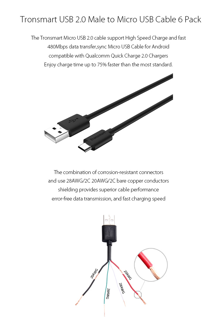 Tronsmart Micro Usb Cables Usb To Micro Usb Sync/chaing Cable - Usb 2 Cable Wiring Diagram