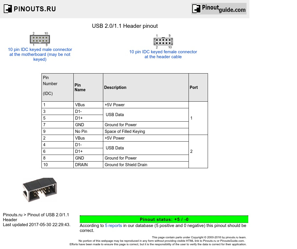 Usb 2.0/1.1 Header Pinout Diagram @ Pinoutguide - Usb 2.0 (9 Pin) Wiring Diagram