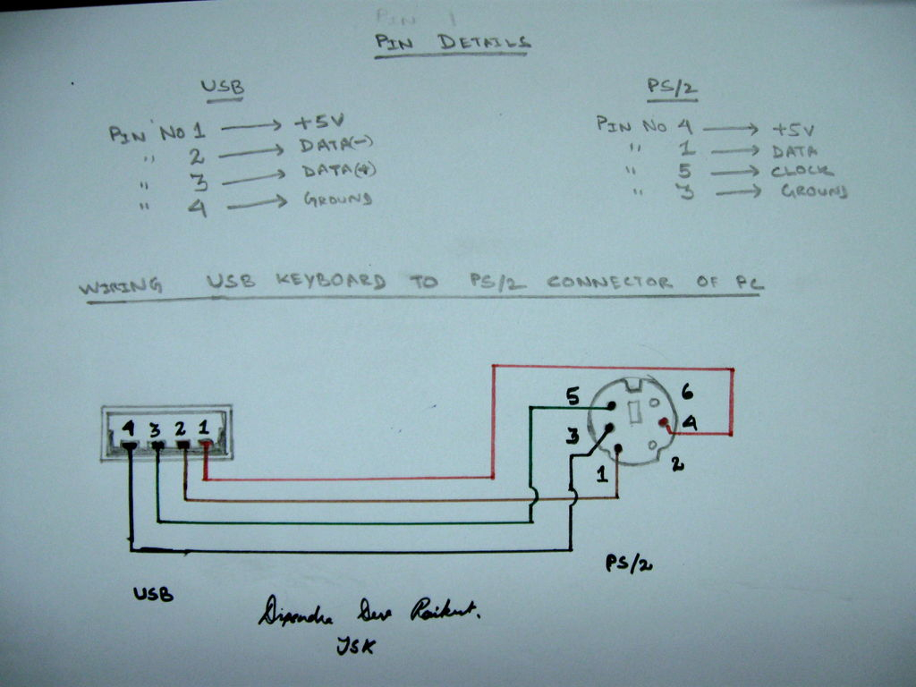 Usb To Ps/2 Convertor - Wiring Diagram To Change A 6-Pin Keyboard Cable To A Usb