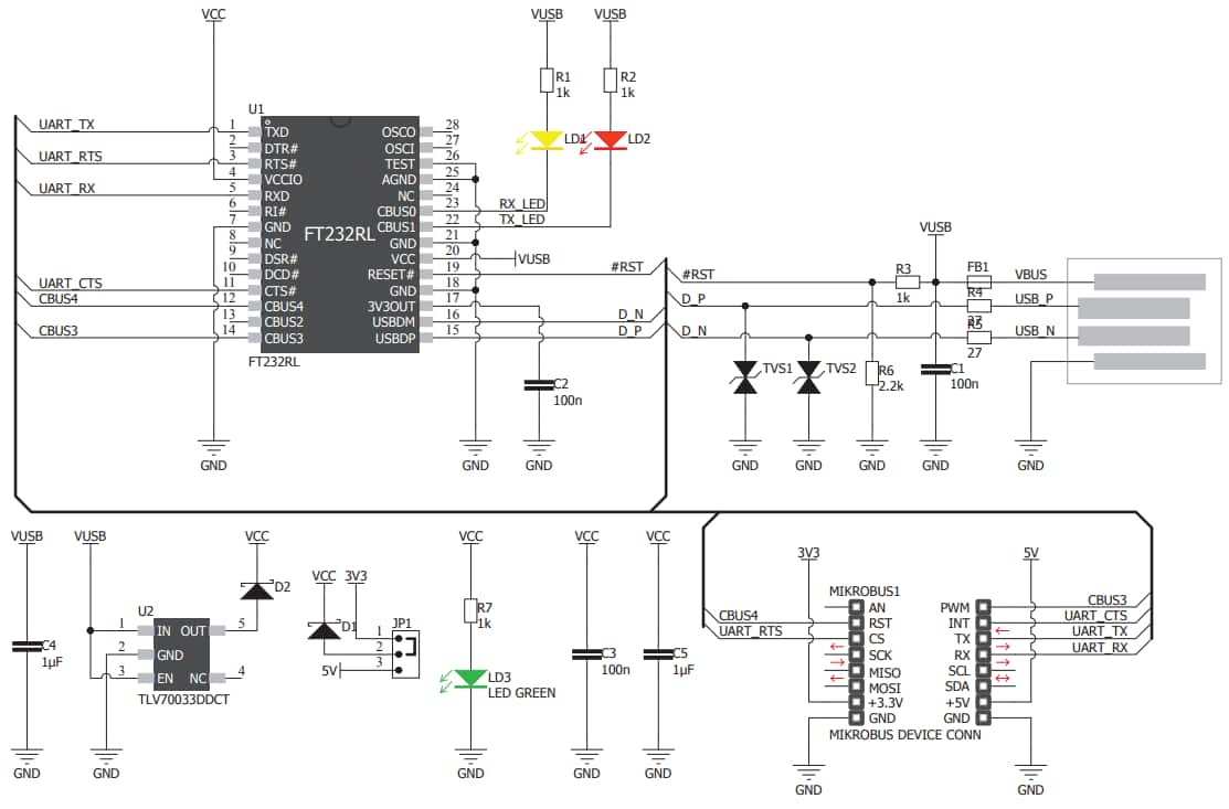 Usb Uart 4 Click Board - Mikroelektronika | Mouser - Usb To Uart Cable Wiring Diagram