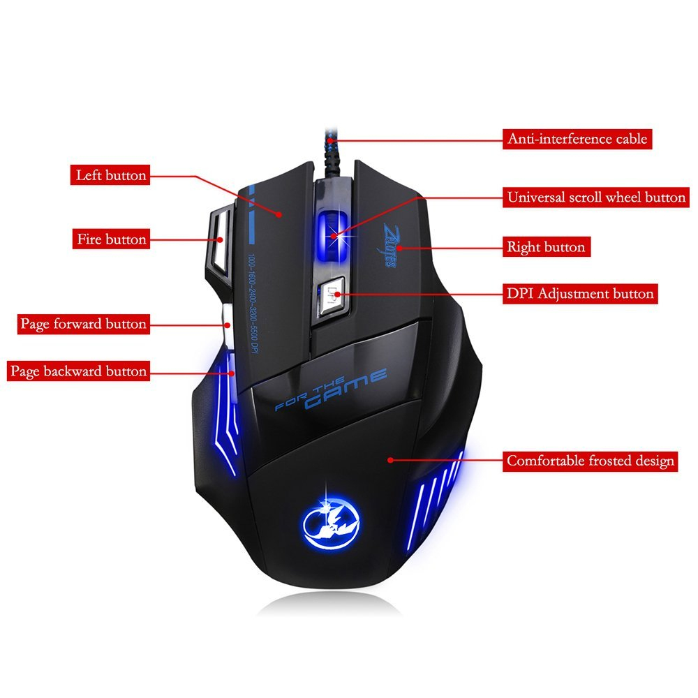 Usb Wired Zelotes 5500 Dpi 7 Button Led Optical Usb Wired Gaming - Onn Corded Mouse Usb Wiring Diagram
