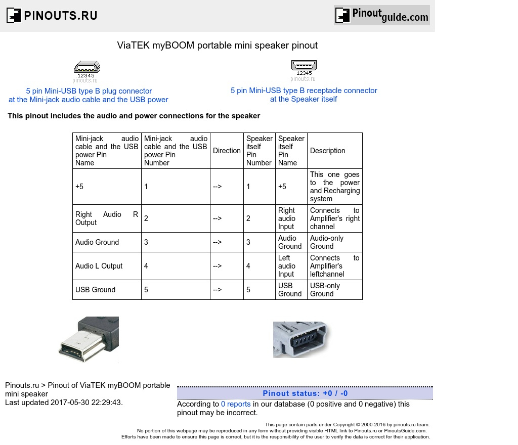Viatek Myboom Portable Mini Speaker Pinout Diagram @ Pinouts.ru - Usb Mini B 5 Pin 5 Wiring Diagram
