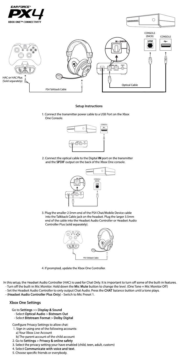 Xbox One Headset Compatibility – Turtle Beach - Diagram Of Usb To 3.5 Mm Jack Adapter Wiring